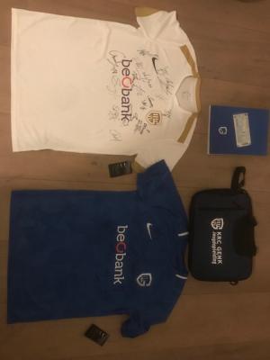 B. twee shirts KRC Genk (uit en thuis) en 2 wedstrijdkaarten (1 feb)