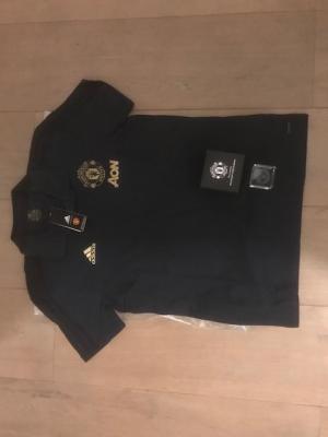 E. Manchester United Poly, kleur Navy maat XL